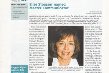 Elise (Stoesser) Roaf, ABC, named Master Communicator