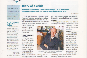 IABC/BC newsletter - Ragged Rights - Diary of a Crisis